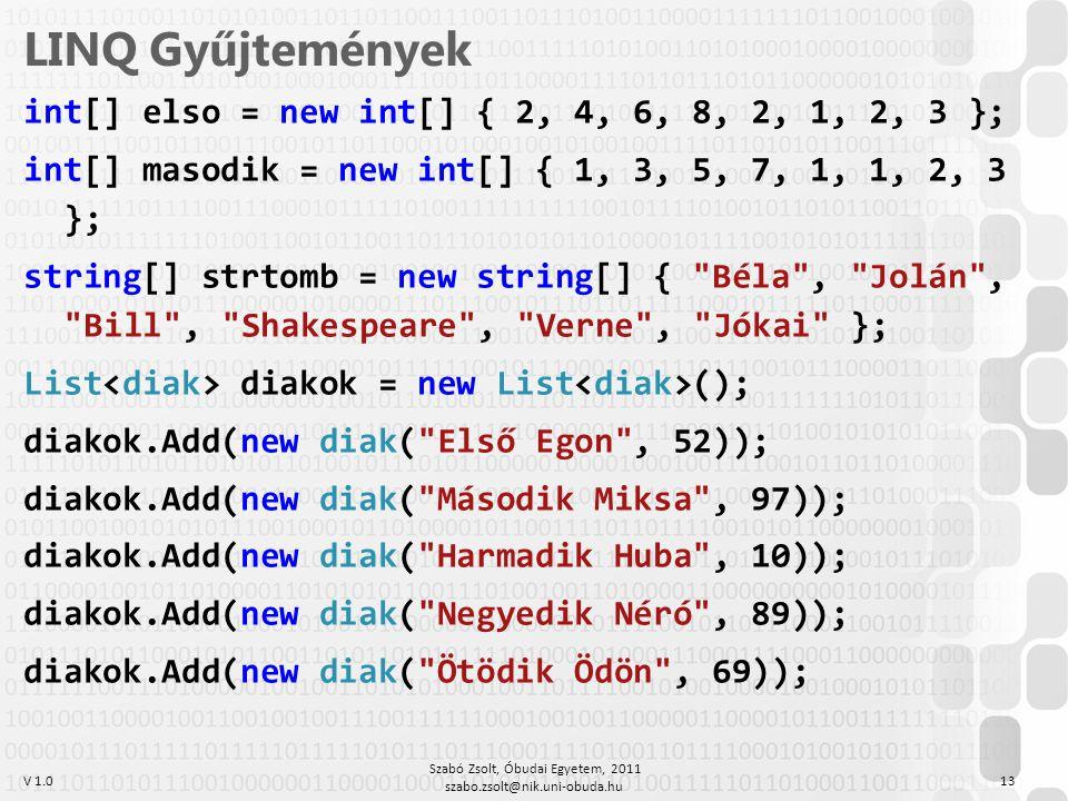 V 1.0 LINQ Gyűjtemények int[] elso = new int[] { 2, 4, 6, 8, 2, 1, 2, 3 }; int[] masodik = new int[] { 1, 3, 5, 7, 1, 1, 2, 3 }; string[] strtomb = ne