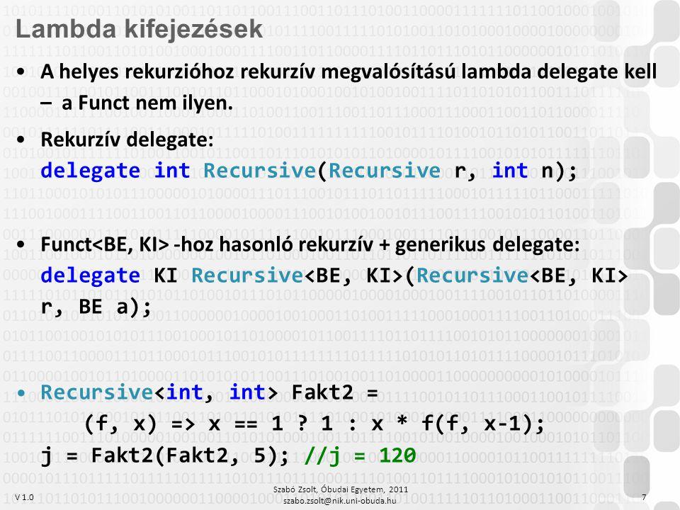 V 1.0 Szabó Zsolt, Óbudai Egyetem, 2011 szabo.zsolt@nik.uni-obuda.hu 7 Lambda kifejezések A helyes rekurzióhoz rekurzív megvalósítású lambda delegate