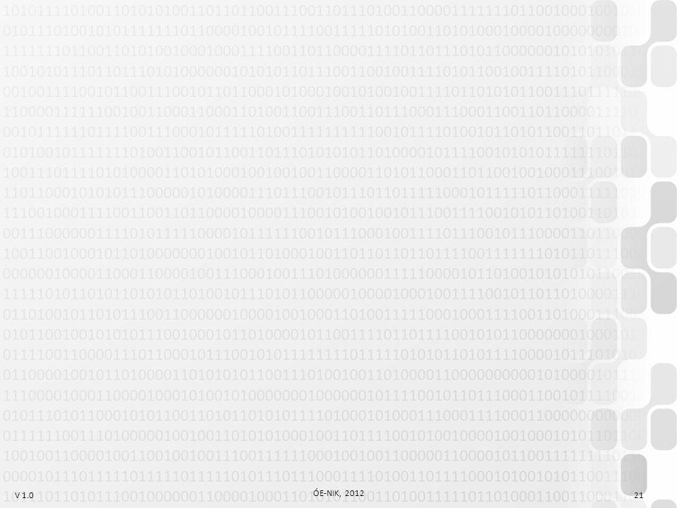 V 1.0 ÓE-NIK, 2012 21
