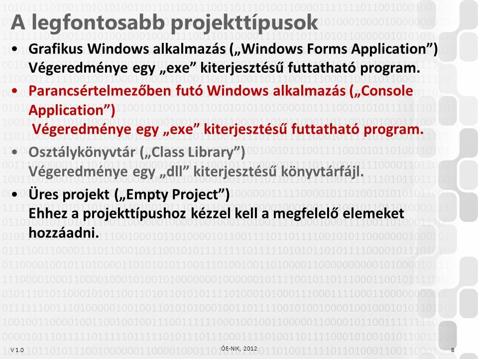 """V 1.0 A legfontosabb projekttípusok Grafikus Windows alkalmazás (""""Windows Forms Application"""") Végeredménye egy """"exe"""" kiterjesztésű futtatható program."""