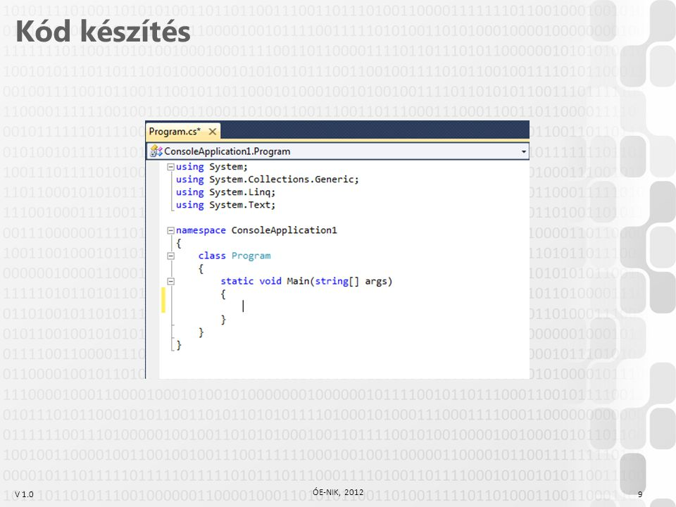 V 1.0 Irodalom, feladatok Kotsis-Légrádi-Nagy-Szénási: Többnyelvű programozástechnika, PANEM, Budapest, 2007 Faraz Rasheed: C# School, Synchron Data, 2006 http://www.programmersheaven.com/2/CSharpBook Reiter István: C# jegyzet, DevPortal, 2010, http://devportal.hu/content/CSharpjegyzet.aspx 20 ÓE-NIK, 2012