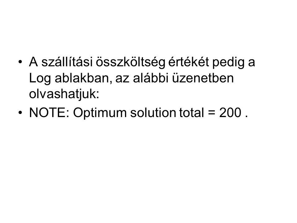 A szállítási összköltség értékét pedig a Log ablakban, az alábbi üzenetben olvashatjuk: NOTE: Optimum solution total = 200.