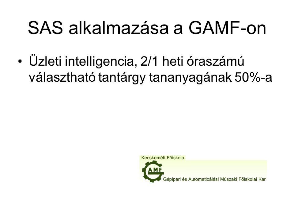 SAS alkalmazása a GAMF-on Üzleti intelligencia, 2/1 heti óraszámú választható tantárgy tananyagának 50%-a