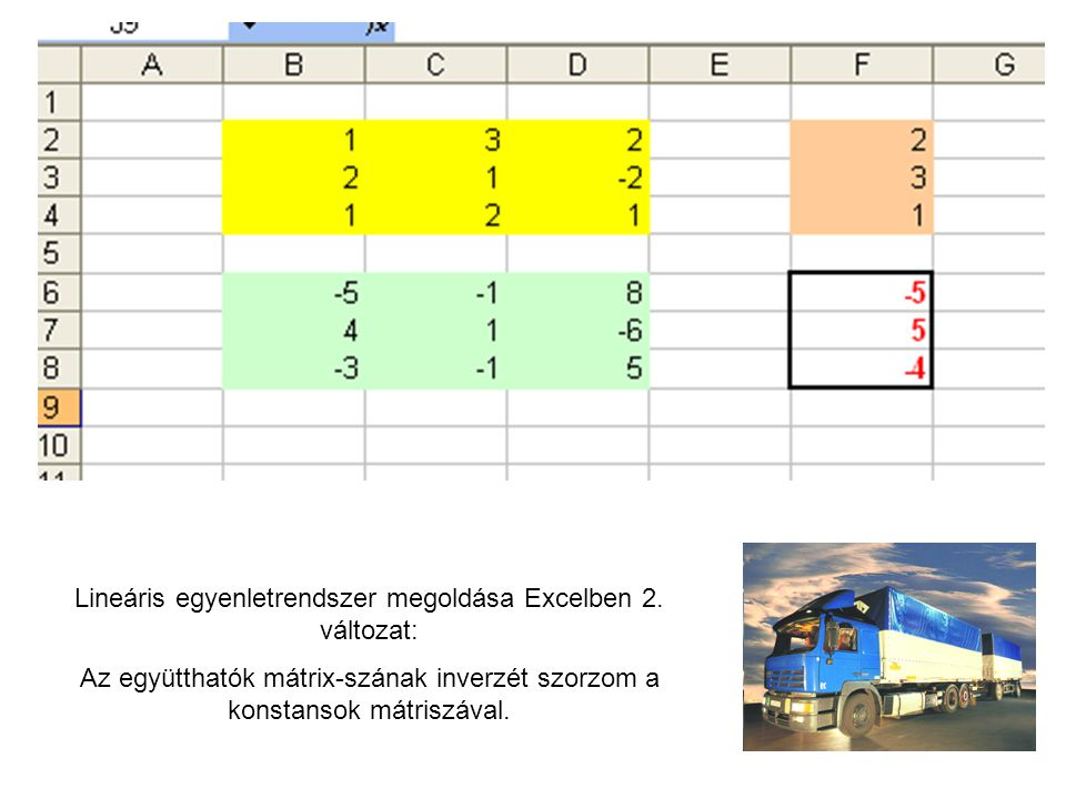 Lineáris egyenletrendszer megoldása Excelben 2.