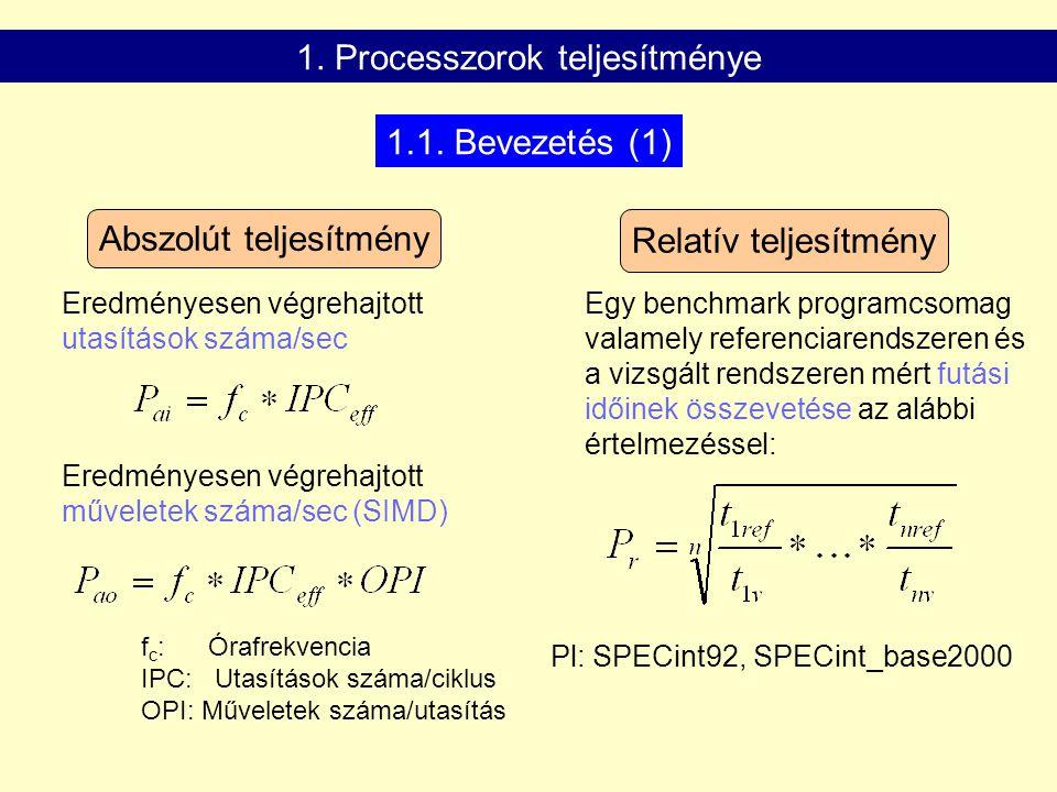 Abszolút teljesítmény Relatív teljesítmény Eredményesen végrehajtott utasítások száma/sec Eredményesen végrehajtott műveletek száma/sec (SIMD) Egy benchmark programcsomag valamely referenciarendszeren és a vizsgált rendszeren mért futási időinek összevetése az alábbi értelmezéssel: Pl: SPECint92, SPECint_base2000 1.1.