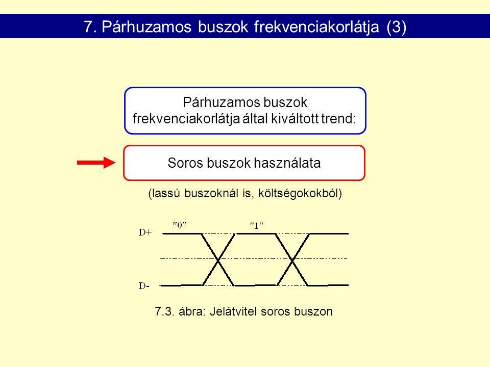 Soros buszok használata 7.3. ábra: Jelátvitel soros buszon 7. Párhuzamos buszok frekvenciakorlátja (3) (lassú buszoknál is, költségokokból) Párhuzamos