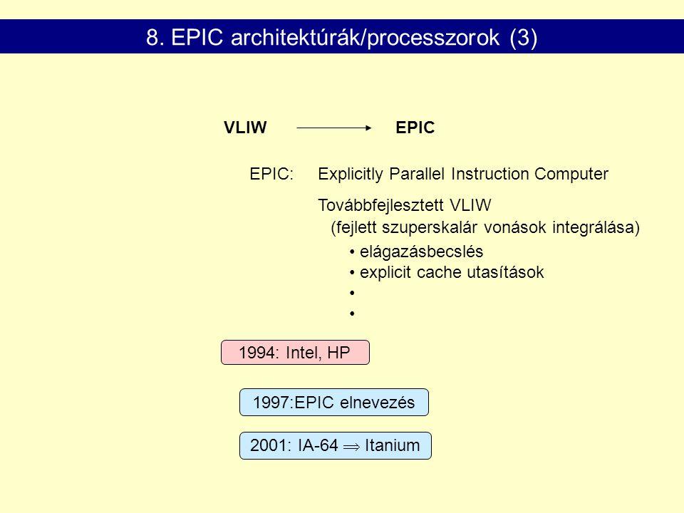 1994: Intel, HP 2001: IA-64  Itanium 1997:EPIC elnevezés VLIWEPIC EPIC: Explicitly Parallel Instruction Computer Továbbfejlesztett VLIW elágazásbecsl