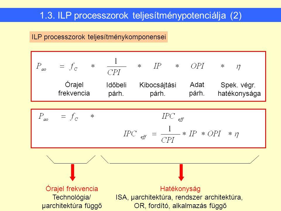 1.3. ILP processzorok teljesítménypotenciálja (2) Órajel frekvencia Technológia/ μarchitektúra függő Hatékonyság ISA, μarchitektúra, rendszer architek