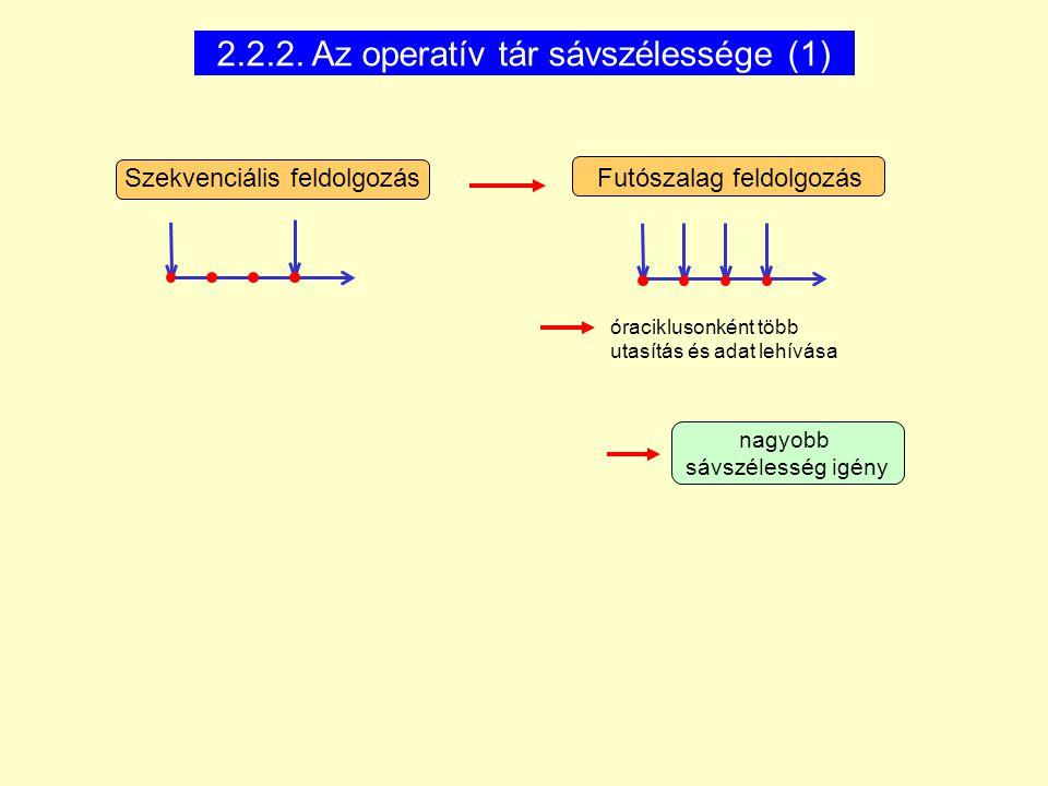 2.2.2. Az operatív tár sávszélessége (1) nagyobb sávszélesség igény Szekvenciális feldolgozás Futószalag feldolgozás óraciklusonként több utasítás és