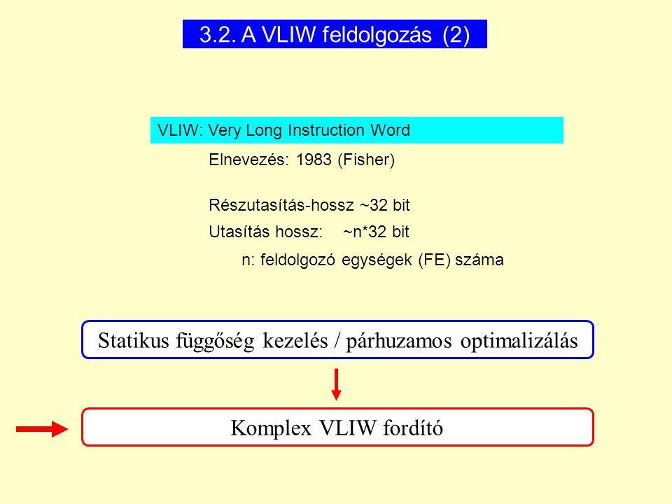 3.2. A VLIW feldolgozás (2) VLIW: Very Long Instruction Word Elnevezés: 1983 (Fisher) Részutasítás-hossz ~32 bit Utasítás hossz: ~n*32 bit n: feldolgo