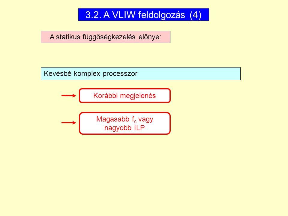 3.2. A VLIW feldolgozás (4) A statikus függőségkezelés előnye: Korábbi megjelenés Magasabb f c vagy nagyobb ILP Kevésbé komplex processzor