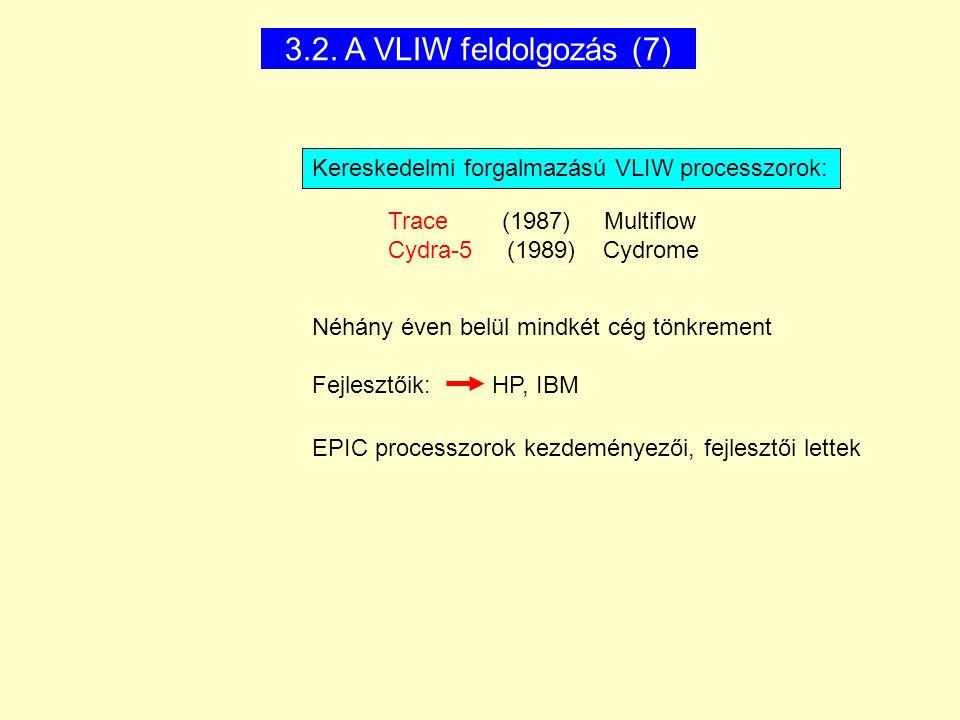 3.2. A VLIW feldolgozás (7) Kereskedelmi forgalmazású VLIW processzorok: Néhány éven belül mindkét cég tönkrement Fejlesztőik: HP, IBM EPIC processzor
