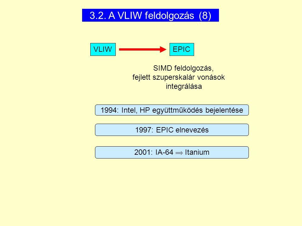 3.2. A VLIW feldolgozás (8) SIMD feldolgozás, fejlett szuperskalár vonások integrálása VLIWEPIC 1994: Intel, HP együttműködés bejelentése 2001: IA-64