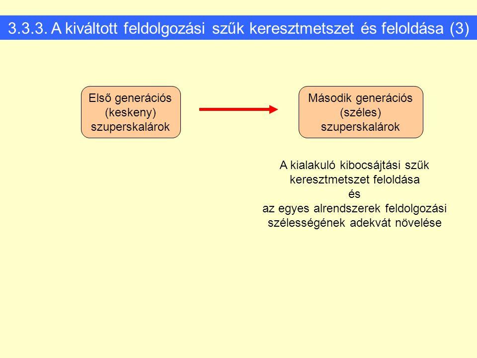 3.3.3. A kiváltott feldolgozási szűk keresztmetszet és feloldása (3) Első generációs (keskeny) szuperskalárok Második generációs (széles) szuperskalár