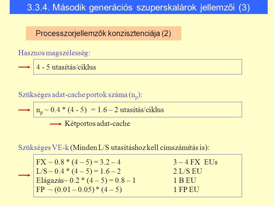 Szükséges VE-k (Minden L/S utasításhoz kell címszámítás is): 4 - 5 utasítás/ciklus Kétportos adat-cache Szükséges adat-cache portok száma (n p ): Hasz