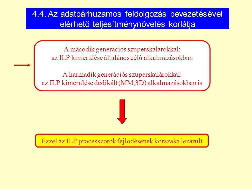 A második generációs szuperskalárokkal: az ILP kimerülése általános célú alkalmazásokban A harmadik generációs szuperskalárokkal: az ILP kimerülése de