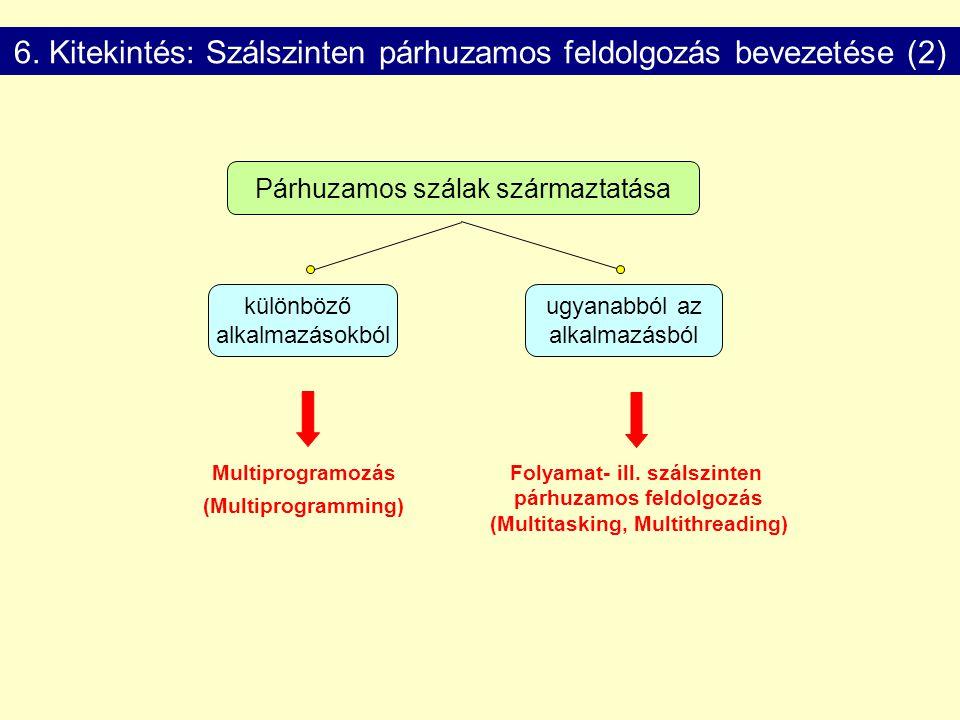 6. Kitekintés: Szálszinten párhuzamos feldolgozás bevezetése (2) Párhuzamos szálak származtatása ugyanabból az alkalmazásból különböző alkalmazásokból