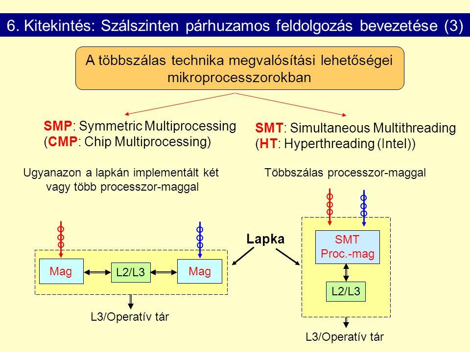 6. Kitekintés: Szálszinten párhuzamos feldolgozás bevezetése (3) A többszálas technika megvalósítási lehetőségei mikroprocesszorokban Ugyanazon a lapk