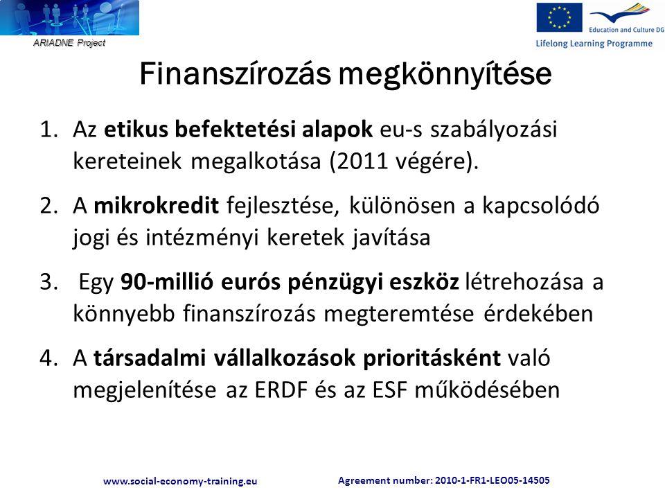 Agreement number: 2010-1-FR1-LEO05-14505 www.social-economy-training.eu ARIADNE Project Finanszírozás megkönnyítése 1.Az etikus befektetési alapok eu-s szabályozási kereteinek megalkotása (2011 végére).