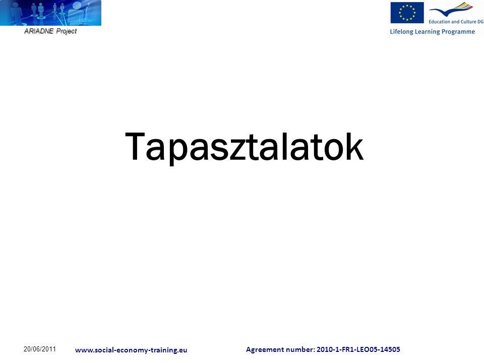 Agreement number: 2010-1-FR1-LEO05-14505 www.social-economy-training.eu ARIADNE Project Szociális vállalkozások az EU politikájában  A területi kohézió és társadalmi problémák (munkahelyteremtés, társadalmi befogadás, szociális ellátás stb.) megoldásának újszerű megközelítése szociális gazdaság, szociális innovációk  Egységes piaci törvény (Single Market Act) a 12 fejlődést segítő eszköz egyikeként említi a szociális gazdaságot, mint új növekedési potenciált teremtő lehetőséget