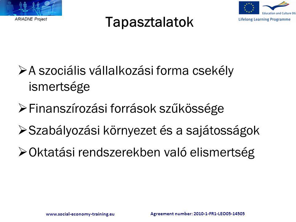 Agreement number: 2010-1-FR1-LEO05-14505 www.social-economy-training.eu ARIADNE Project Tapasztalatok  A szociális vállalkozási forma csekély ismertsége  Finanszírozási források szűkössége  Szabályozási környezet és a sajátosságok  Oktatási rendszerekben való elismertség