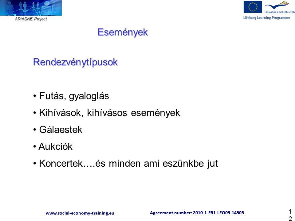 ARIADNE Project Agreement number: 2010-1-FR1-LEO05-14505 www.social-economy-training.eu Agreement number: 2010-1-FR1-LEO05-14505 www.social-economy-training.eu 12 Rendezvénytípusok Futás, gyaloglás Kihívások, kihívásos események Gálaestek Aukciók Koncertek….és minden ami eszünkbe jut Események