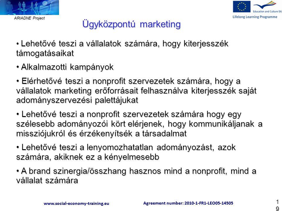 ARIADNE Project Agreement number: 2010-1-FR1-LEO05-14505 www.social-economy-training.eu Agreement number: 2010-1-FR1-LEO05-14505 www.social-economy-training.eu 19 Lehetővé teszi a vállalatok számára, hogy kiterjesszék támogatásaikat Lehetővé teszi a vállalatok számára, hogy kiterjesszék támogatásaikat Alkalmazotti kampányok Alkalmazotti kampányok Elérhetővé teszi a nonprofit szervezetek számára, hogy a vállalatok marketing erőforrásait felhasználva kiterjesszék saját adományszervezési palettájukat Elérhetővé teszi a nonprofit szervezetek számára, hogy a vállalatok marketing erőforrásait felhasználva kiterjesszék saját adományszervezési palettájukat Lehetővé teszi a nonprofit szervezetek számára hogy egy szélesebb adományozói kört elérjenek, hogy kommunikáljanak a missziójukról és érzékenyítsék a társadalmat Lehetővé teszi a nonprofit szervezetek számára hogy egy szélesebb adományozói kört elérjenek, hogy kommunikáljanak a missziójukról és érzékenyítsék a társadalmat Lehetővé teszi a lenyomozhatatlan adományozást, azok számára, akiknek ez a kényelmesebb Lehetővé teszi a lenyomozhatatlan adományozást, azok számára, akiknek ez a kényelmesebb A brand szinergia/összhang hasznos mind a nonprofit, mind a vállalat számára A brand szinergia/összhang hasznos mind a nonprofit, mind a vállalat számára Ügyközpontú marketing