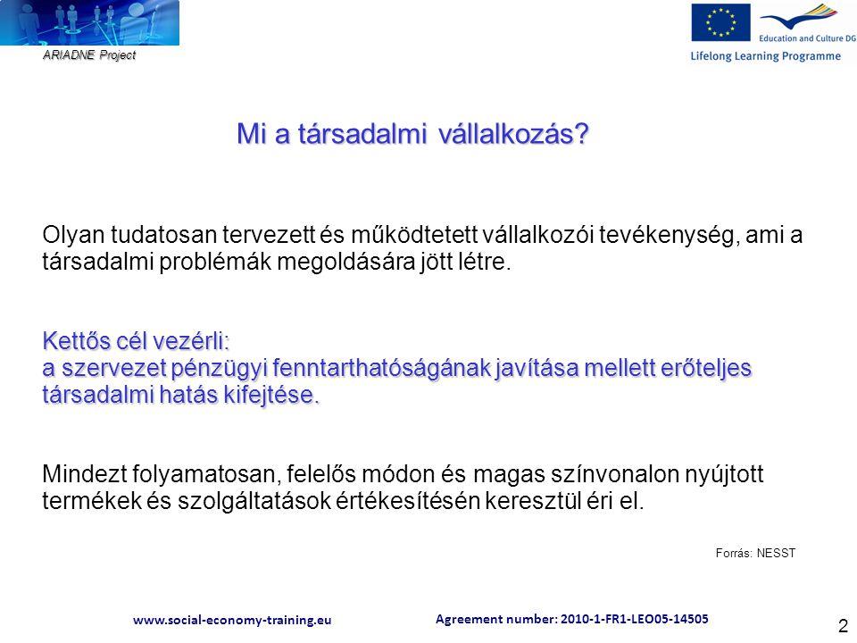 Agreement number: 2010-1-FR1-LEO05-14505 www.social-economy-training.eu ARIADNE Project 2 Olyan tudatosan tervezett és működtetett vállalkozói tevékenység, ami a társadalmi problémák megoldására jött létre.