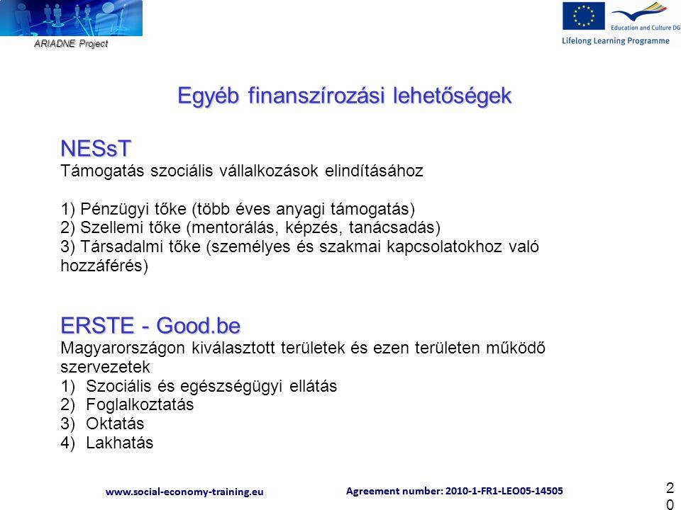 ARIADNE Project Agreement number: 2010-1-FR1-LEO05-14505 www.social-economy-training.eu Agreement number: 2010-1-FR1-LEO05-14505 www.social-economy-training.eu 20 Egyéb finanszírozási lehetőségek NESsT Támogatás szociális vállalkozások elindításához 1) Pénzügyi tőke (több éves anyagi támogatás) 2) Szellemi tőke (mentorálás, képzés, tanácsadás) 3) Társadalmi tőke (személyes és szakmai kapcsolatokhoz való hozzáférés) ERSTE - Good.be Magyarországon kiválasztott területek és ezen területen működő szervezetek 1)Szociális és egészségügyi ellátás 2)Foglalkoztatás 3)Oktatás 4)Lakhatás