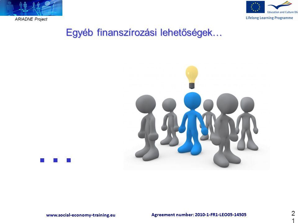 ARIADNE Project Agreement number: 2010-1-FR1-LEO05-14505 www.social-economy-training.eu Agreement number: 2010-1-FR1-LEO05-14505 www.social-economy-training.eu 21 Egyéb finanszírozási lehetőségek… …