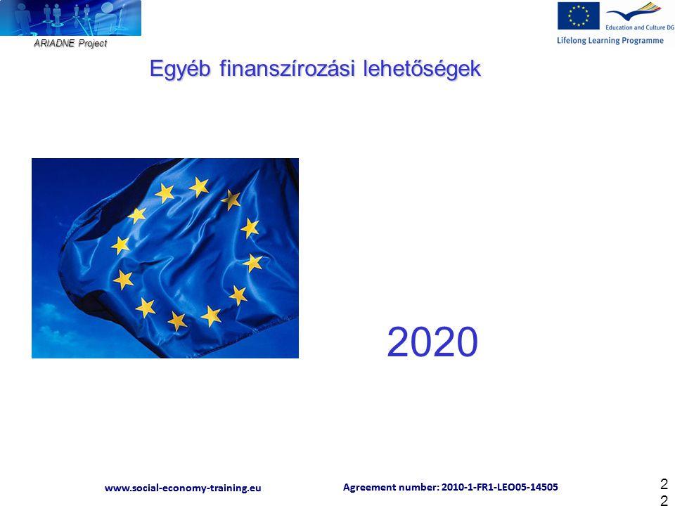 ARIADNE Project Agreement number: 2010-1-FR1-LEO05-14505 www.social-economy-training.eu Agreement number: 2010-1-FR1-LEO05-14505 www.social-economy-training.eu 22 Egyéb finanszírozási lehetőségek 2020