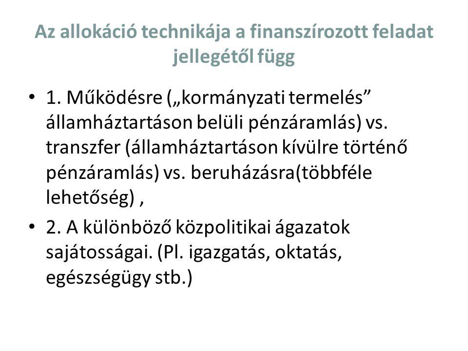 """Az allokáció technikája a finanszírozott feladat jellegétől függ 1. Működésre (""""kormányzati termelés"""" államháztartáson belüli pénzáramlás) vs. transzf"""