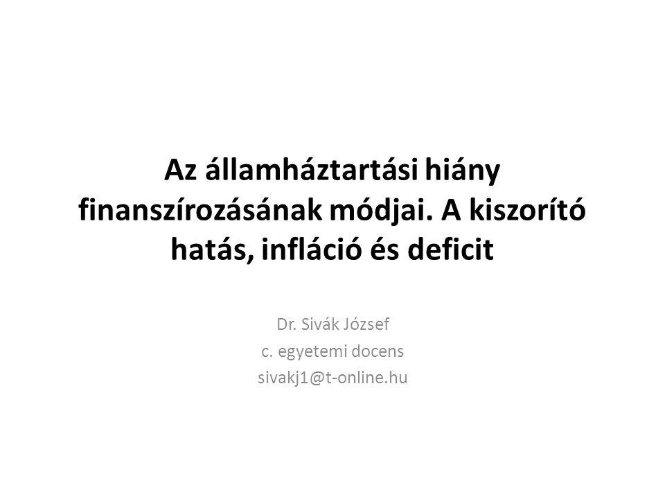 Az államháztartási hiány finanszírozásának módjai.