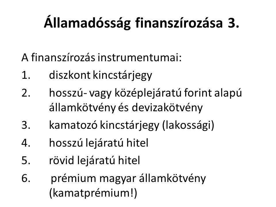 Államadósság finanszírozása 2. Belföldi források: államháztartáson belül jegybanki hitelnyújtás kereskedelmi bankok értékpapír vásárlásai vállalatok,