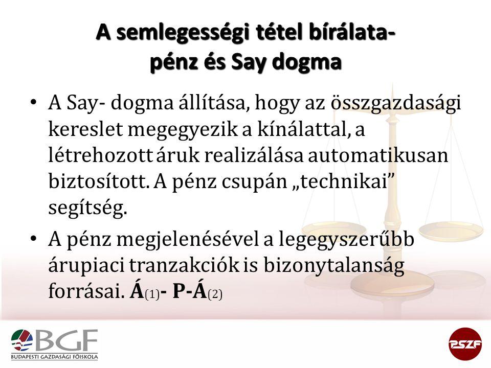 A semlegességi tétel bírálata- pénz és Say dogma A Say- dogma állítása, hogy az összgazdasági kereslet megegyezik a kínálattal, a létrehozott áruk rea