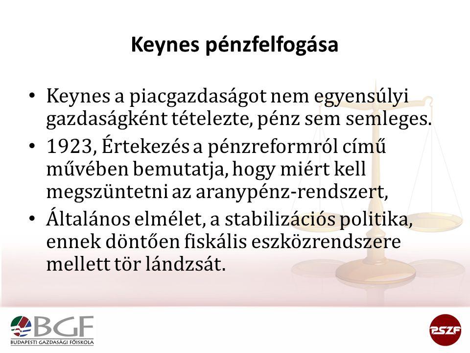 Keynes pénzfelfogása Keynes a piacgazdaságot nem egyensúlyi gazdaságként tételezte, pénz sem semleges. 1923, Értekezés a pénzreformról című művében be