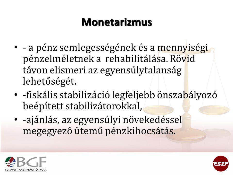 Monetarizmus - a pénz semlegességének és a mennyiségi pénzelméletnek a rehabilitálása. Rövid távon elismeri az egyensúlytalanság lehetőségét. -fiskáli