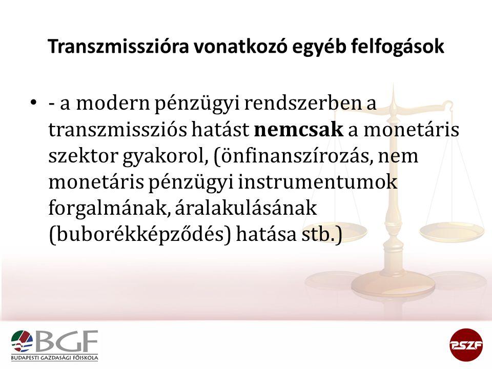 Transzmisszióra vonatkozó egyéb felfogások - a modern pénzügyi rendszerben a transzmissziós hatást nemcsak a monetáris szektor gyakorol, (önfinanszíro