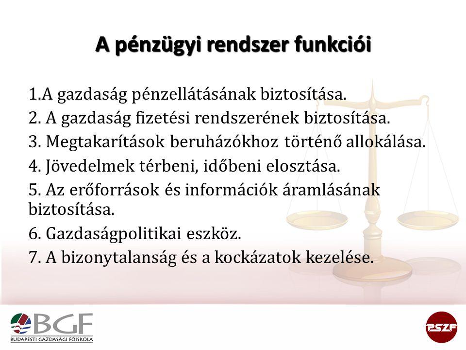 A pénzügyi rendszer funkciói 1.A gazdaság pénzellátásának biztosítása. 2. A gazdaság fizetési rendszerének biztosítása. 3. Megtakarítások beruházókhoz