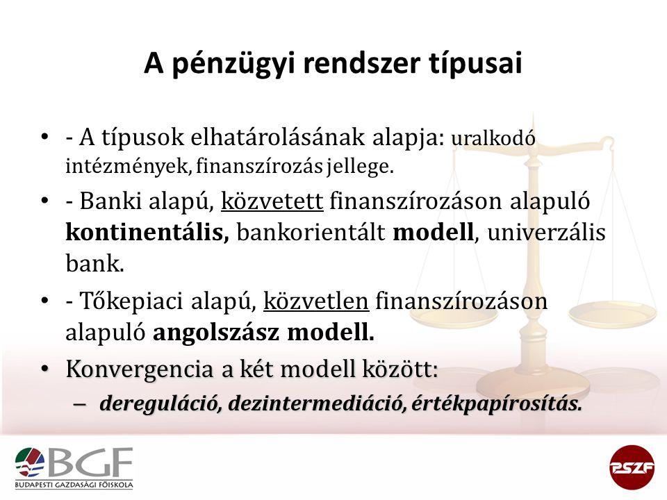 A pénzügyi rendszer típusai - A típusok elhatárolásának alapja: uralkodó intézmények, finanszírozás jellege. - Banki alapú, közvetett finanszírozáson