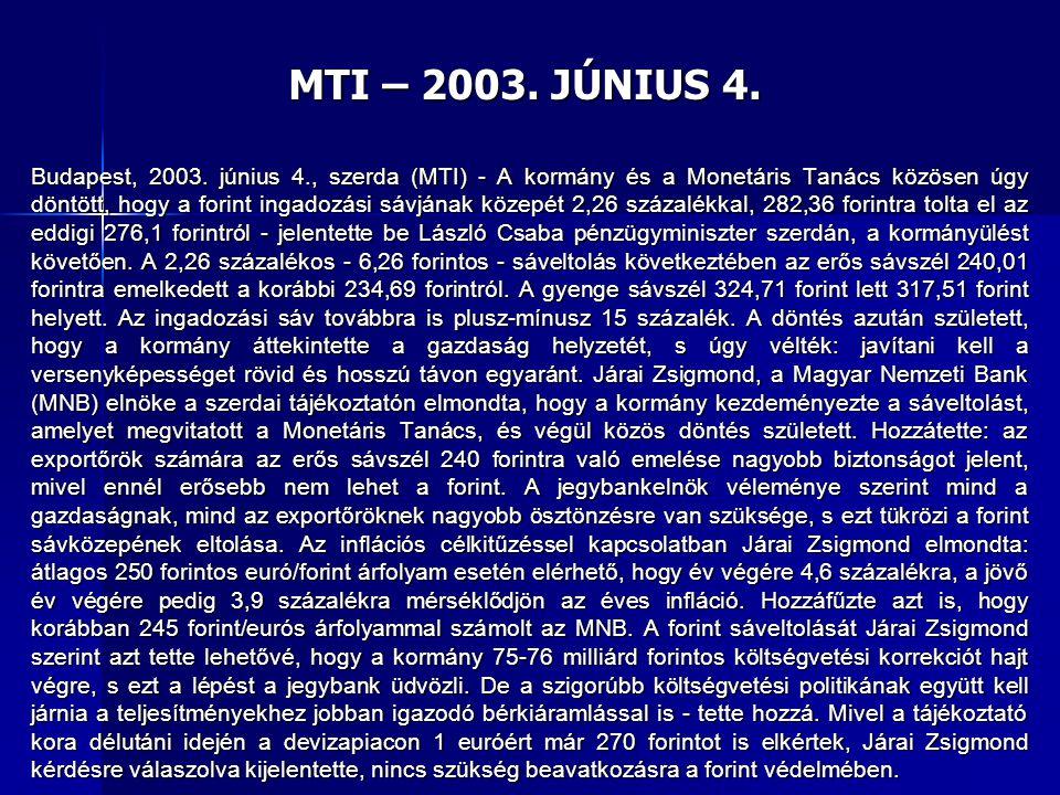 MTI – 2003. JÚNIUS 4. Budapest, 2003. június 4., szerda (MTI) - A kormány és a Monetáris Tanács közösen úgy döntött, hogy a forint ingadozási sávjának