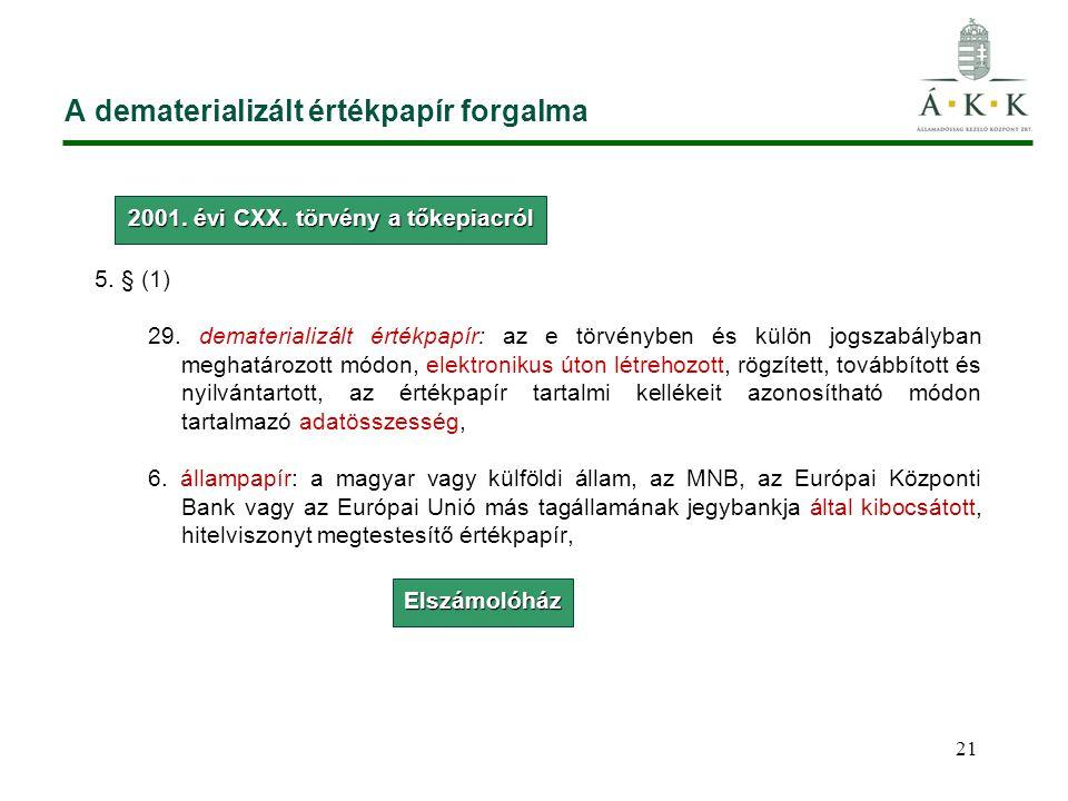 A dematerializált értékpapír forgalma 5. § (1) 29. dematerializált értékpapír: az e törvényben és külön jogszabályban meghatározott módon, elektroniku