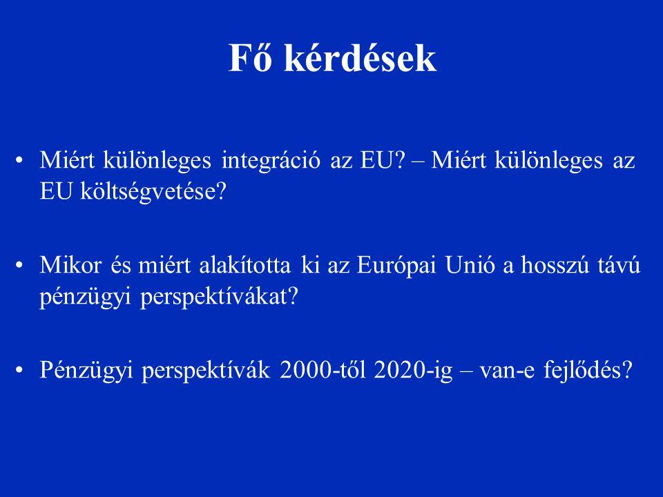 Fő kérdések Miért különleges integráció az EU? – Miért különleges az EU költségvetése? Mikor és miért alakította ki az Európai Unió a hosszú távú pénz