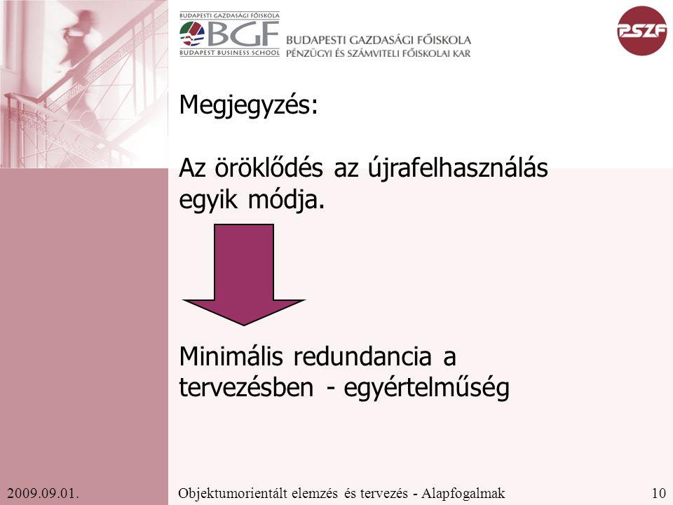 10Objektumorientált elemzés és tervezés - Alapfogalmak2009.09.01.