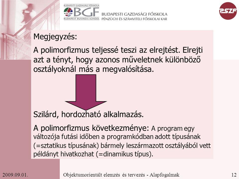 12Objektumorientált elemzés és tervezés - Alapfogalmak2009.09.01.