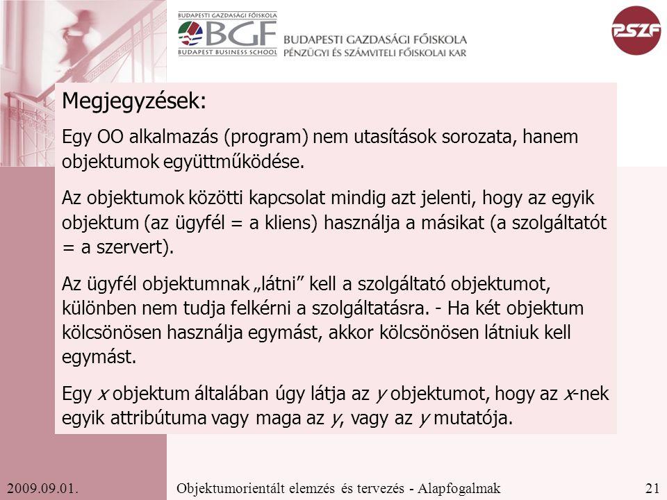21Objektumorientált elemzés és tervezés - Alapfogalmak2009.09.01.