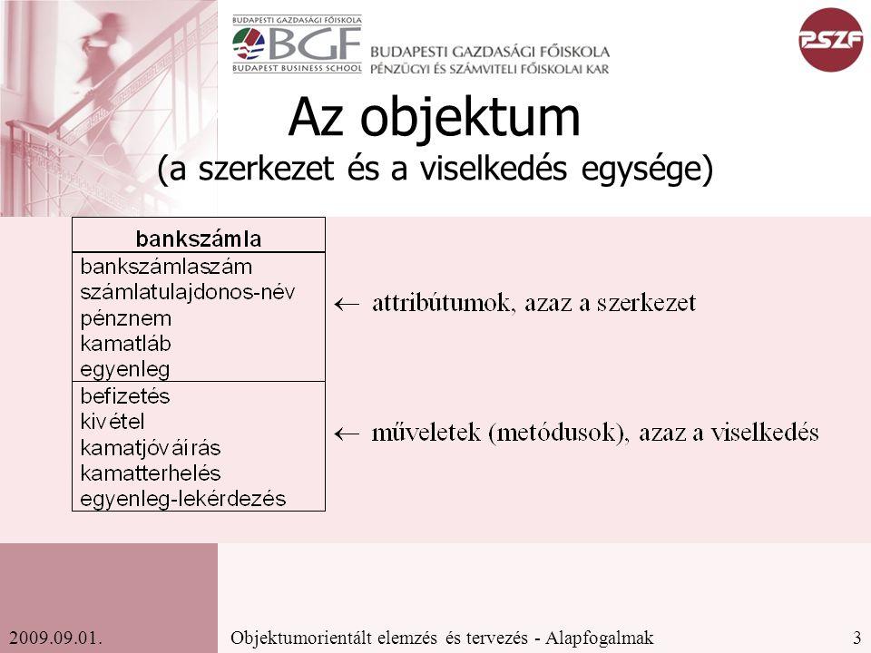 3Objektumorientált elemzés és tervezés - Alapfogalmak2009.09.01.