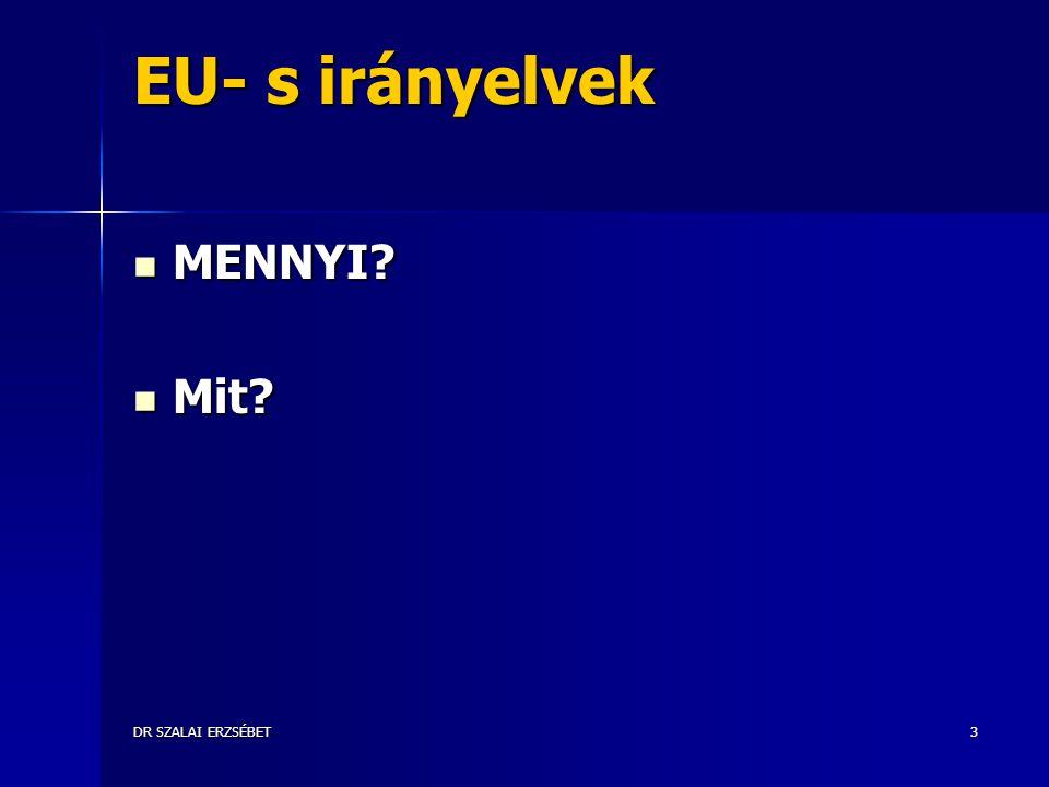 DR SZALAI ERZSÉBET3 EU- s irányelvek MENNYI? MENNYI? Mit? Mit?