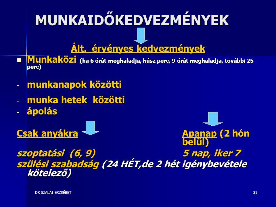 DR SZALAI ERZSÉBET31 MUNKAIDŐKEDVEZMÉNYEK Ált.