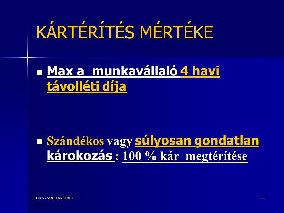 DR SZALAI ERZSÉBET77 KÁRTÉRÍTÉS MÉRTÉKE Max a munkavállaló 4 havi távolléti díja Max a munkavállaló 4 havi távolléti díja Szándékos vagy súlyosan gondatlan károkozás : 100 % kár megtérítése Szándékos vagy súlyosan gondatlan károkozás : 100 % kár megtérítése